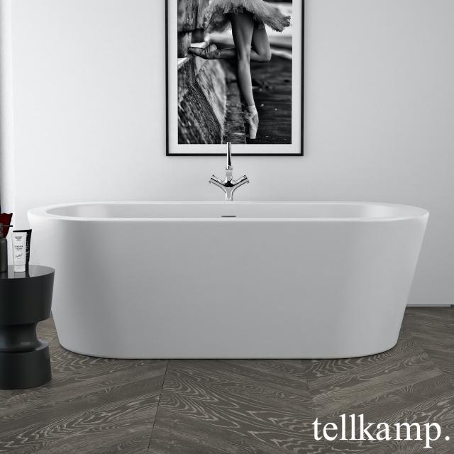 Tellkamp Solitär freestanding, oval whirl bath matt white, panel matt white