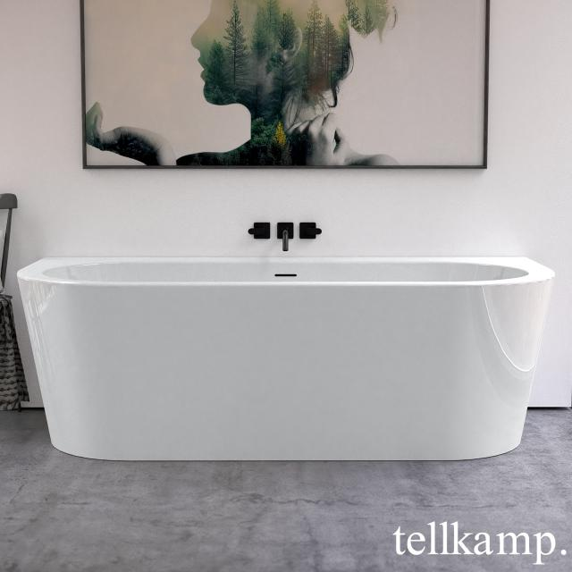 Tellkamp Solitär Wall back-to-wall bath with panelling white gloss, panel white gloss, without filling function