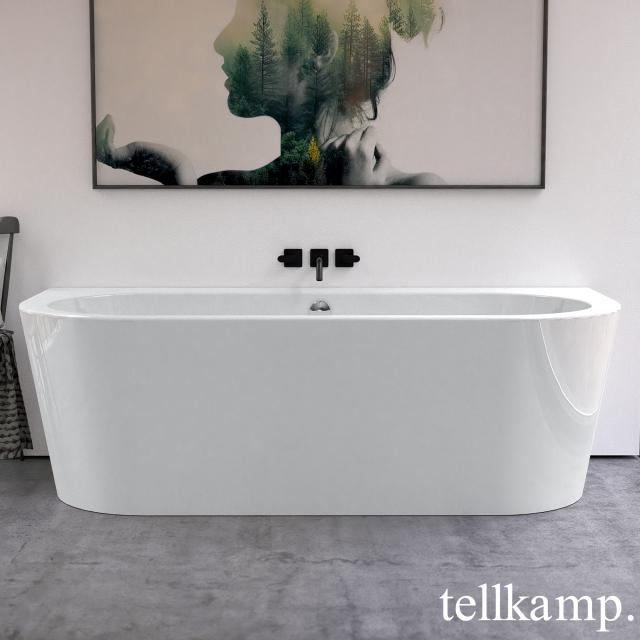 Tellkamp Solitär Wall back-to-wall whirlbath with panelling white gloss, panel white gloss, with water inlet