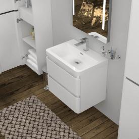 Treos Serie 920 Lavabo avec meuble sous-lavabo et 2 tiroirs Façade blanc/corps du meuble blanc, 1 trou percé
