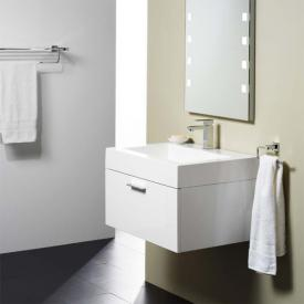 treos Series 900 washbasin with vanity unit with 1 pull-out compartment front white / corpus white, with 1 tap hole