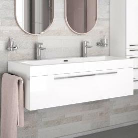 treos Series 902 double washbasin with vanity unit with 1 pull-out compartment front white / corpus white