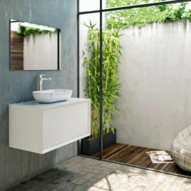 treos series 905 countertop washbasin with vanity unit with 1 pull-out compartment front white / corpus white, with 1 tap hole