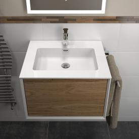 treos series 905 washbasin with vanity unit with 1 pull-out compartment front oak / corpus white, with 1 tap hole