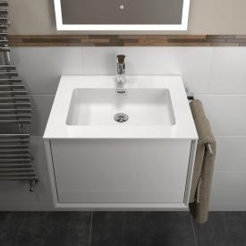 treos series 905 washbasin with vanity unit with 1 pull-out compartment front white / corpus white, with 1 tap hole