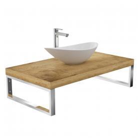 treos series 950 console for 1 countertop/drop-in washbasin oak
