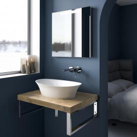treos series 950 console for 1 countertop/drop-in washbasin oak