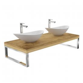 treos series 950 console for 2 countertop/drop-in washbasins oak