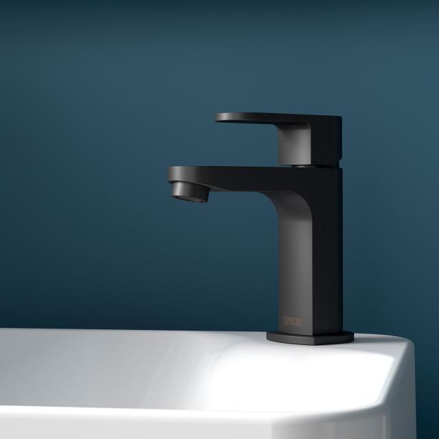 treos Series 173 single lever basin mixer without waste set, matt black