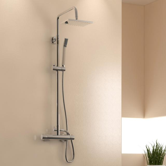 treos series 173 wall-mounted thermostatic shower system with overhead shower