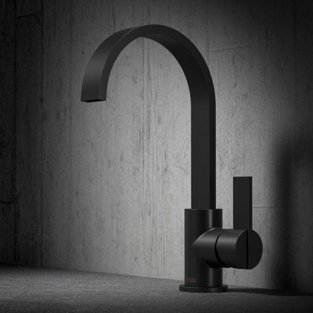 treos Series 195 single lever basin mixer, with pop-up waste set matt black