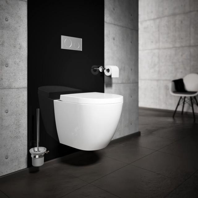 Treos Series 800 wall-mounted, washdown toilet, rimless, short version