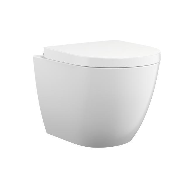 Treos Series 800 wall-mounted, washdown toilet, rimless, with toilet seat, short version