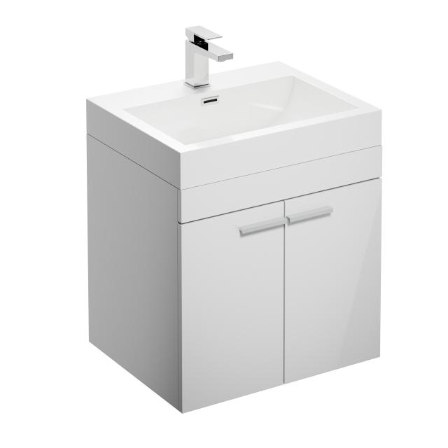treos Series 900 washbasin with vanity unit with 2 doors front white / corpus white, with 1 tap hole