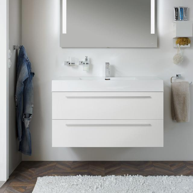 treos Series 900 washbasin with vanity unit with 2 pull-out compartments front white / corpus white, with 1 tap hole