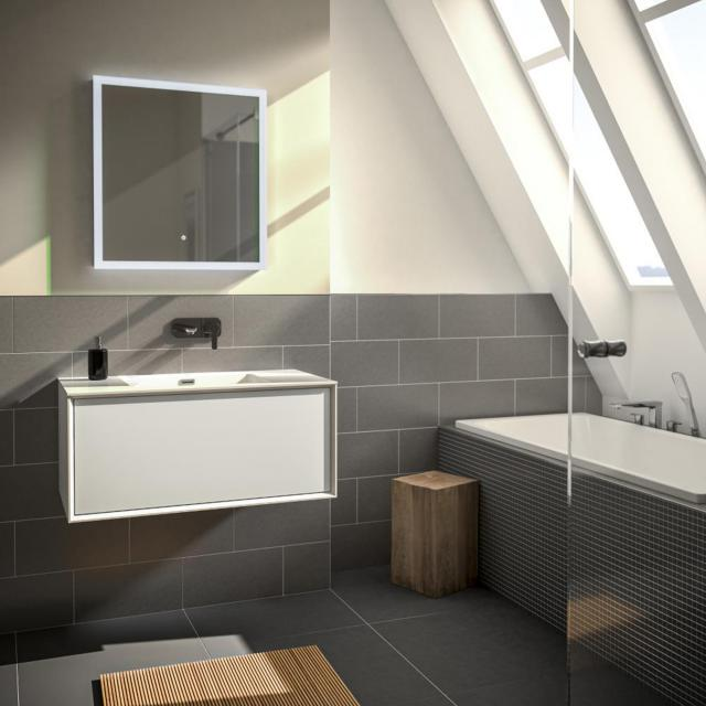 treos series 905 washbasin with vanity unit with 1 pull-out compartment front white / corpus white, without tap hole
