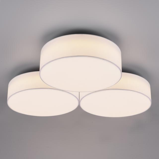 TRIO Lugano LED ceiling light with dimmer, 3 heads