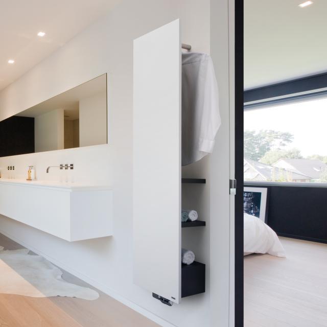 Vasco Niva Bad bathroom radiator set for hot water operation white fine texture, jet black, 934 Watt
