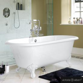 Victoria + Albert Cheshire freestanding oval bath white gloss/interior white gloss, with white metal feet