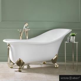 Victoria + Albert Drayton freestanding bath white, with polished brass metal feet