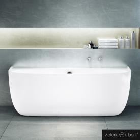 Victoria + Albert Eldon back-to-wall bath with panelling white gloss/interior white gloss, with overflow
