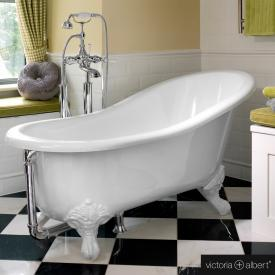 Victoria + Albert Shropshire freestanding bath white, with white QUARRYCAST® feet