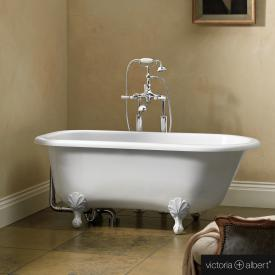 Victoria + Albert Wessex freestanding bath white, with white metal feet
