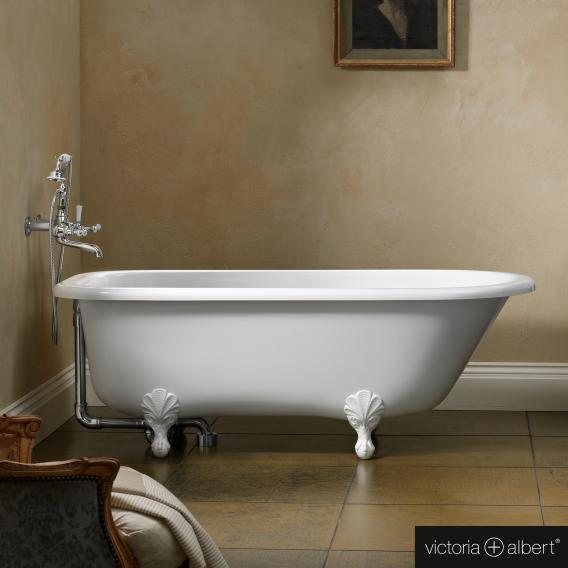 Victoria + Albert Hampshire freestanding bath white, with white QUARRYCAST® feet