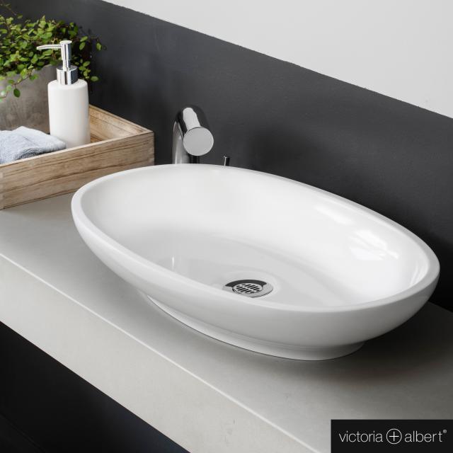 Victoria + Albert Cabrits 55 countertop washbasin white gloss/interior white gloss