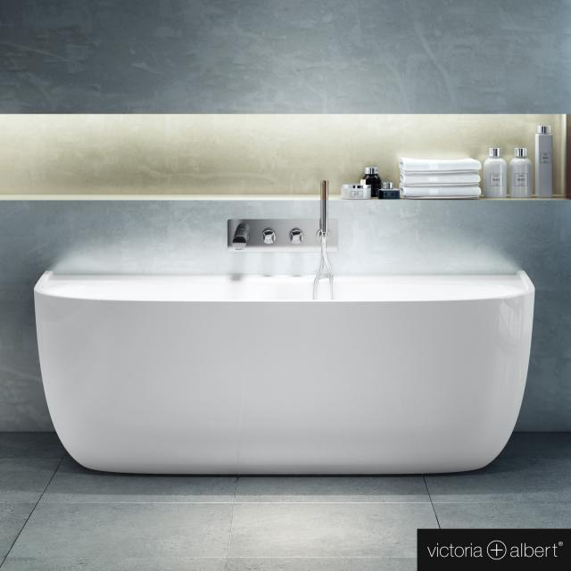 Victoria + Albert Eldon back-to-wall bath with panelling white gloss/interior white gloss, without overflow