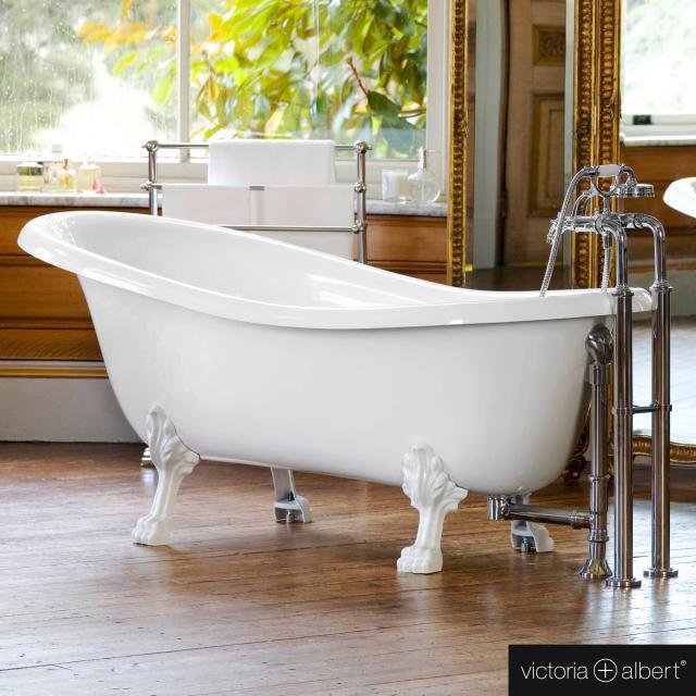 Victoria + Albert Roxburgh freestanding oval bath white gloss/interior white gloss, with white metal feet