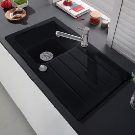 Villeroy & Boch Architectura 50 built-in sink with drainer and eccentric actuation ebony/borehole position 1 and 2
