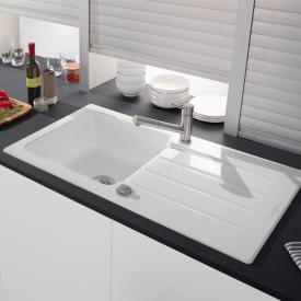 Villeroy & Boch Architectura 60 built-in sink with drainer and eccentric actuation snow white/borehole position 1 and 2
