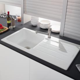 Villeroy & Boch Architectura 60 built-in sink with draining board white alpine/position borehole 1