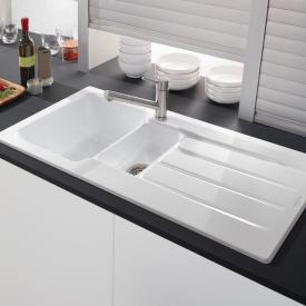 Villeroy & Boch Architectura 60 XR built-in sink with draining board snow white/position borehole 1