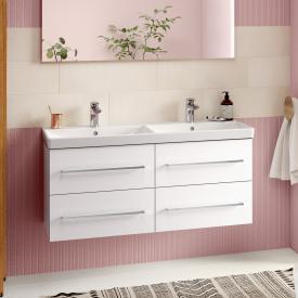 Villeroy & Boch Avento Meuble sous-lavabo pour lavabo double avec 4 tiroirs Façade blanc cristal/corps du meuble blanc cristal