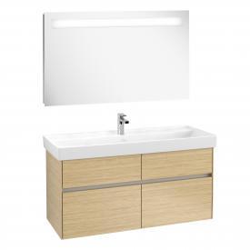 Villeroy & Boch Collaro washbasin with vanity unit and More to See 14 mirror front nordic oak/mirrored / corpus nordic oak/matt aluminium, recessed handle soft grey