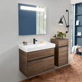 Villeroy & Boch Collaro washbasin with vanity unit and More to See 14 mirror front arizona oak/ mirrored / corpus arizona oak/matt aluminium, recessed handle matt anthracite