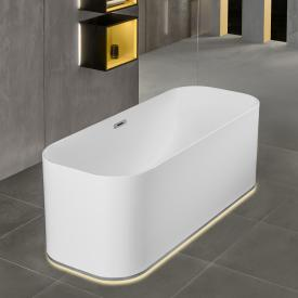 Villeroy & Boch Finion freestanding bath with emotion function starwhite, chrome, with integrated water inlet, with design ring