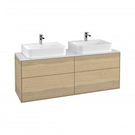 Villeroy & Boch Finion LED vanity unit with 4 pull-out compartments for 2 countertop basins front oak veneer / corpus oak veneer, top cover matt white