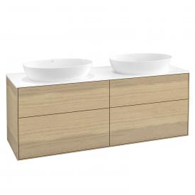 Villeroy & Boch Finion LED vanity unit for 2 countertop washbasins with 4 pull-out compartments front oak veneer / corpus oak veneer, top cover matt white