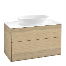 Villeroy & Boch Finion LED vanity unit for countertop washbasin with 2 pull-out compartments front oak veneer / corpus oak veneer, top cover matt white