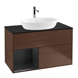 Villeroy & Boch Finion LED vanity unit for countertop washbasin with 2 pull-out compartments, rack element left front walnut / corpus walnut/matt black, top cover matt black