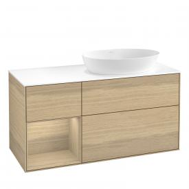 Villeroy & Boch Finion LED vanity unit for countertop washbasin with 3 pull-out compartments, rack element left front oak veneer / corpus oak veneer, top cover matt white