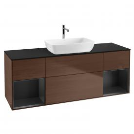 Villeroy & Boch Finion LED vanity unit for countertop washbasin with 4 pull-out compartments, rack element left & right front walnut / corpus walnut/matt black, top cover matt black