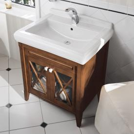 Villeroy & Boch Hommage vanity unit with washbasin and 2 doors front walnut / corpus walnut, starwhite with CeramicPlus, starwhite handles