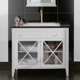 Villeroy & Boch Hommage vanity unit with washbasin, 2 doors and 1 pull-out compartment front matt white / corpus matt white, white with CeramicPlus, white handles