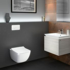 Villeroy & Boch Legato combi pack wall-mounted washdown toilet, open flush rim, with toilet seat white, with CeramicPlus