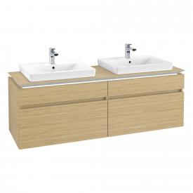 Villeroy & Boch Legato LED vanity unit for 2 built-in washbasins with 4 pull-out compartments front nordic oak / corpus nordic oak