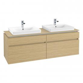 Villeroy & Boch Legato vanity unit for 2 drop-in washbasins with 4 pull-out compartments front nordic oak / corpus nordic oak